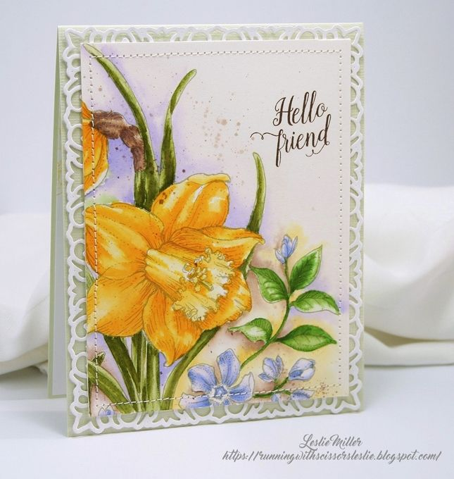 Leslie Miller creation using Power Poppy's Dancing with Daffodils digital stamp set.