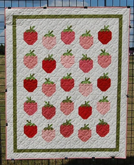 """Quilts, """"Fresh Strawberries"""" is a red and pink quilt for sale/handmade patchwork quilt/ lap quilt/blankets and throws by MyCottonandThread on Etsy"""