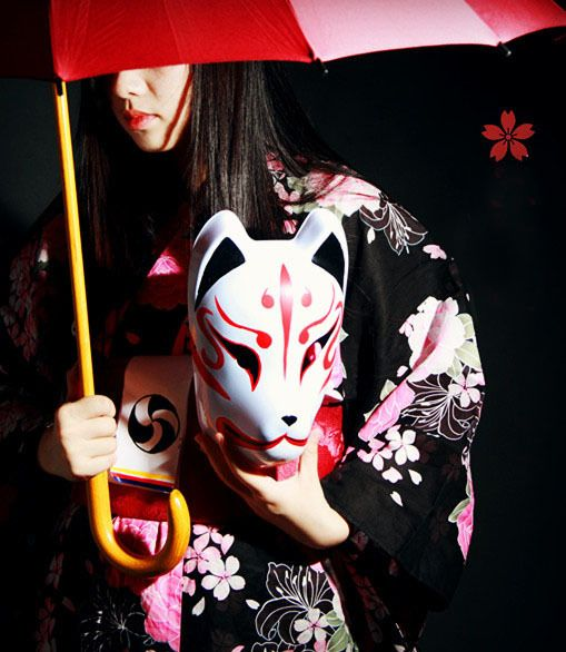 Hand Painted Full Face Japanese Fox Mask Demon Kitsune Cosplay PVC Masquerade Collection Japanese Noh Party Carnival Halloween-in Party Masks from Home & Garden on Aliexpress.com   Alibaba Group