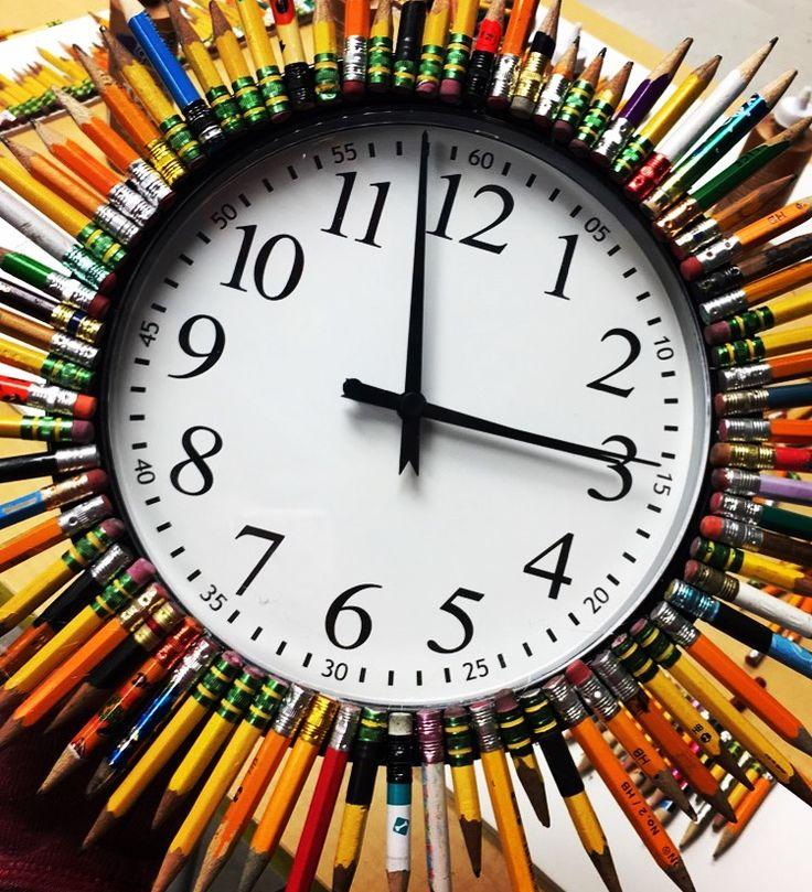 modified the art room clock- little pencils collected by students, hot glued.
