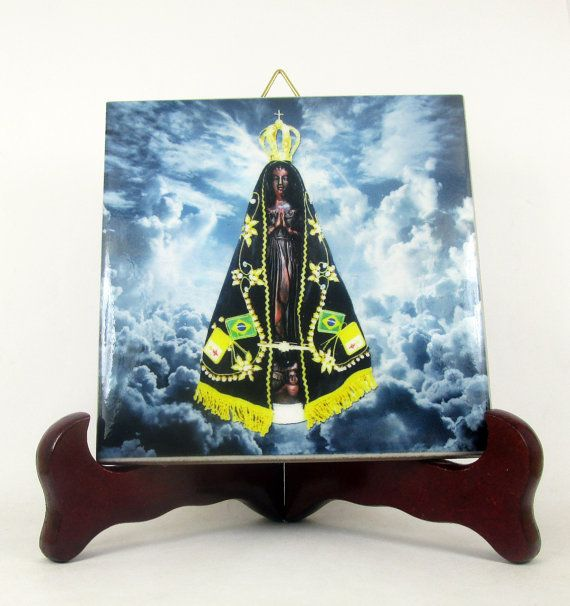 Holy art - Catholic icon - Our Lady of Aparecida ceramic tile - Black Madonna - patroness of Brazil - Virgin Mary art - religious handmade