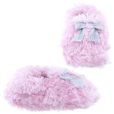 Pusat Toko Bagus Sepatu - Capelli New York Teddy Faux Fur Moccasin Dengan Bow Gadis Balita Slipper Satin Indoor pink Kecil | Pusat Sepatu Bayi Terbesar dan Terlengkap Se indonesia