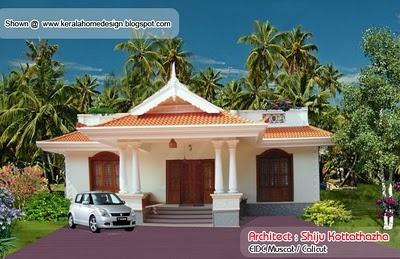 Kerala style single floor house plan1155 Sq FtSmall House