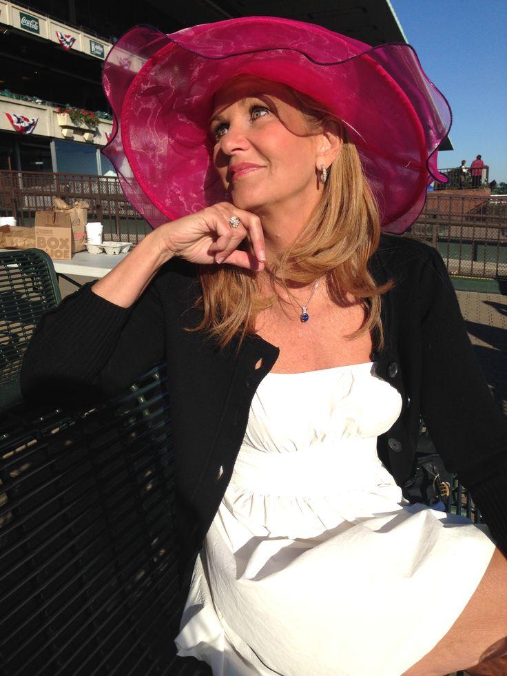 An inside look at Belmont Park   New York's PIX11 / WPIX-TV - PIX 11's Linda Church makes this hot pink hat look simply beautiful. (Allison Yang / PIX11)