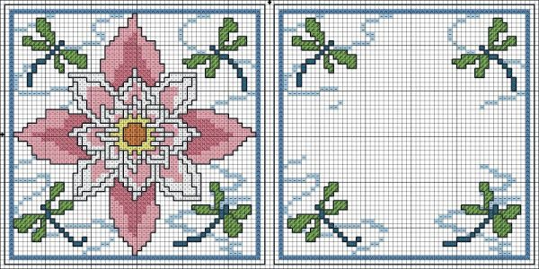 Cross-stitch Dragonflies & Flower Biscornu... no color chart available, just use the pattern chart as your color guide.. or choose your own colors... Картинка