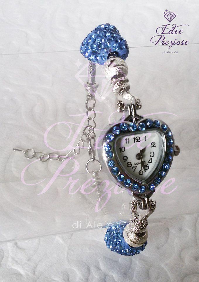 Orologio da polso con pietre a cuore con brillanti azzurri, by Idee Preziose di Ale e Cri, 16,00 € su misshobby.com