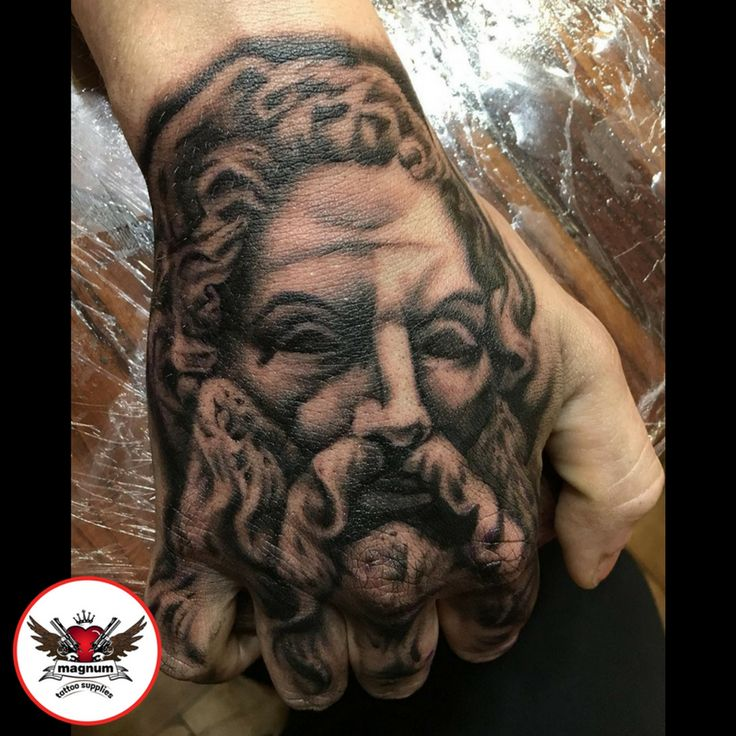 Zeus hand piece done by Mike Davies created with #magnumtattoosupplies  #handpiece #blackandgrey #ink #tattoo