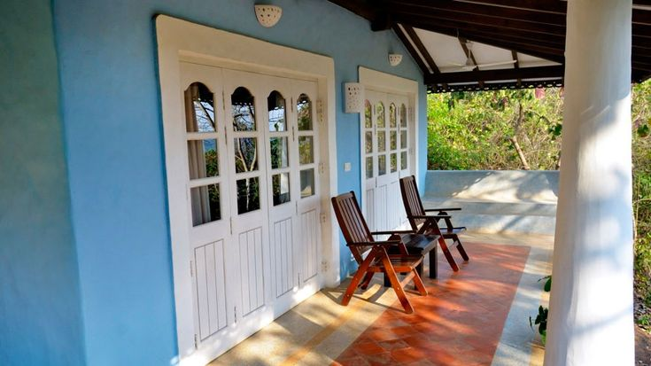 One of the lovely villa verandahs, this one in gorgeous sky blue, at Wildflower Villas in north-central Goa. To book or enquire: https://www.tripzuki.com/hotels/vivenda-dos-palhacos-goa/
