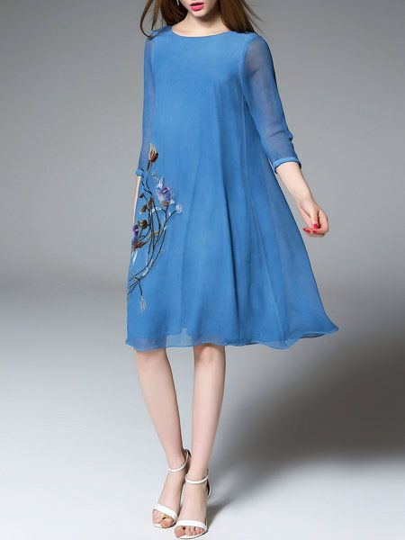 Shop Midi Dresses - Blue Floral Silk 3/4 Sleeve Midi Dress online. Discover unique designers fashion at StyleWe.com.