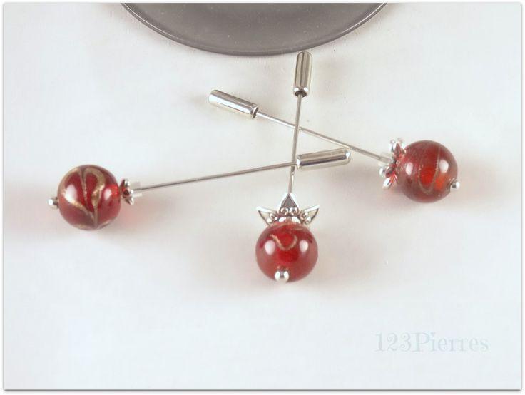 Fibule verre Murano rouge foncé motif fleur - Pour fixer foulard, gilet ou en broche : Broche par 123pierres