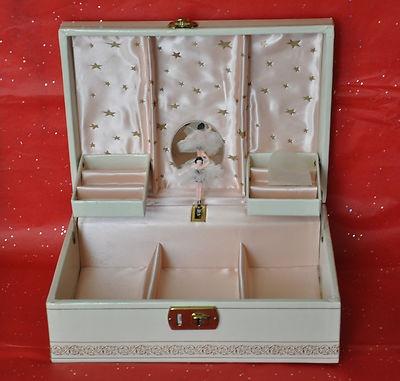 Vintage 1950's Musical Ballerina Jewelry Box w Key. Pink Lining. Gold Stars   eBay