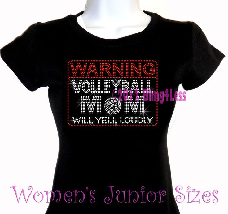 WARNING - Volleyball Mom Rhinestone Iron on T-Shirt -Pick Size S-3XL- Bling Top