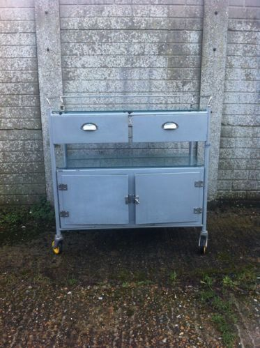 Vintage Metal Hospital Trolley with 2 Drawers And Cupboard