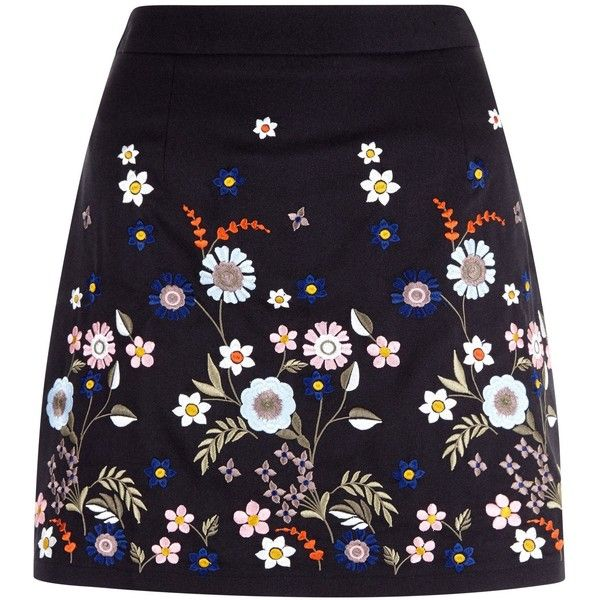 New Look Teens Black Floral Embroidered Skirt ($22) ❤ liked on Polyvore featuring skirts, black, mini skirt, mini maxi skirt, embroidered mini skirt, slim skirt and zipper skirt