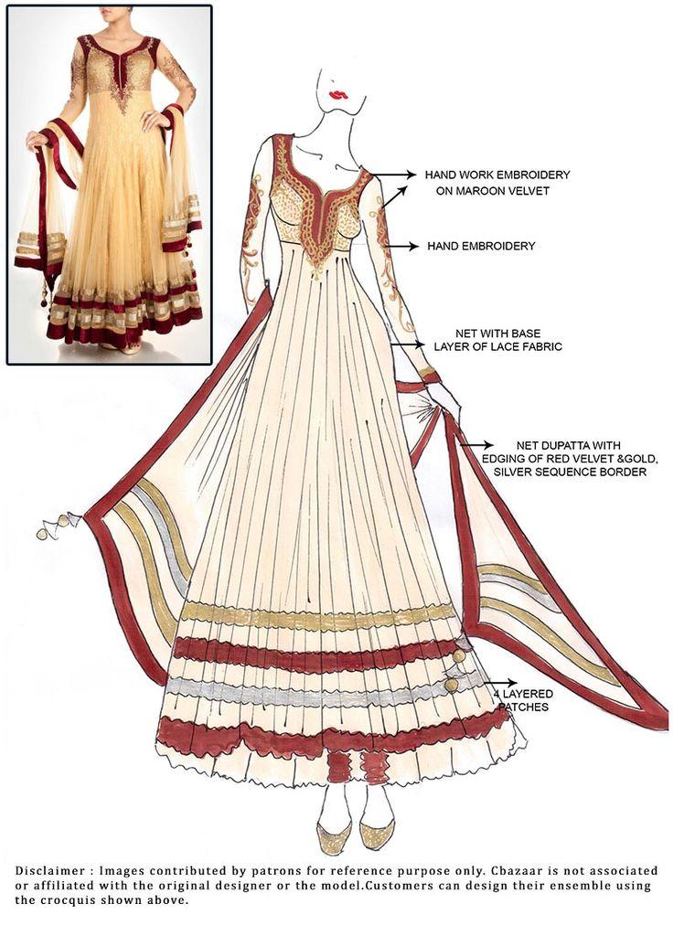 DIY Beige Ankle Length #Anarkali Suit
