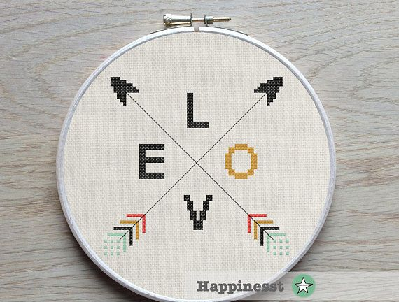 modern cross stitch pattern arrows LOVE, native, valentine, aztec arrow PDF  ** instant download**