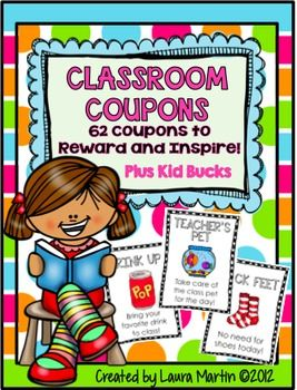 Need an easy classroom management tool to reward students? My students LOVE these Reward Coupons! I love them, too!  Make your life easier with 62 Fun, Easy, and virtually Free Classroom Coupons. Your students will have so much fun earning and spending these coupons!!
