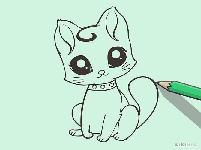 cartoon kitten with collar drawing
