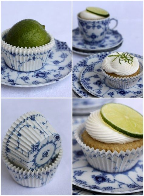 Lime cupcakes and Royal Copenhagen  Blue China: now that's what I'm talking about!