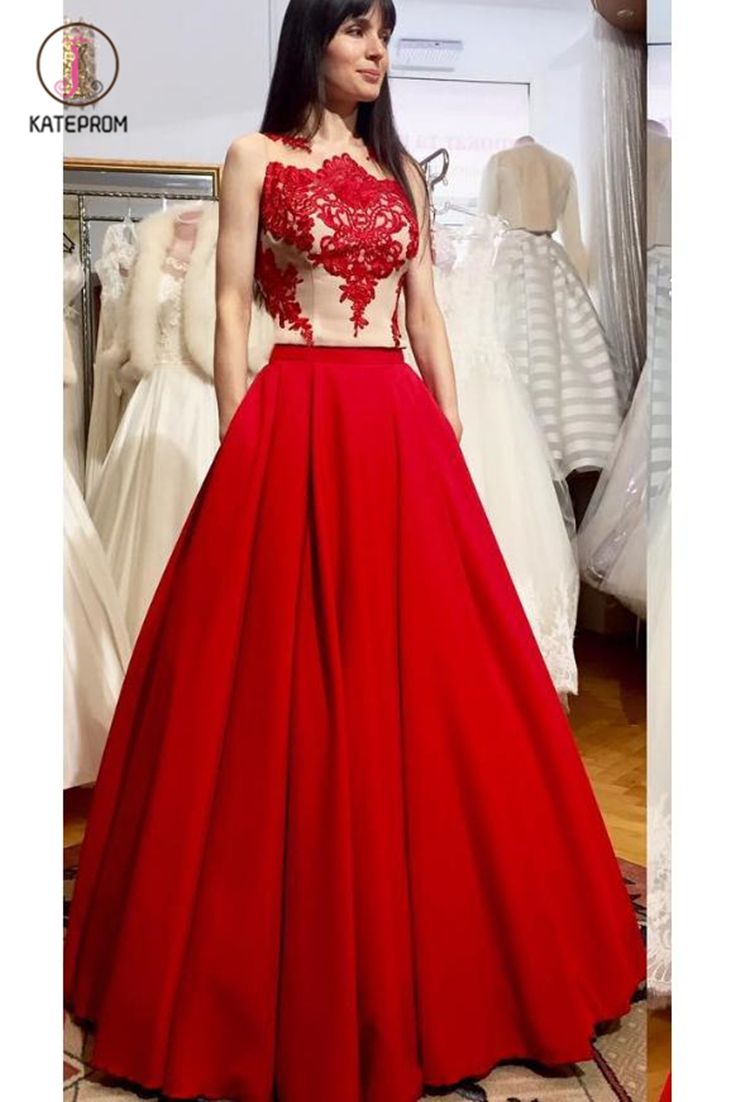 Puffy Floor Length Red Prom Dress With Appliques Long Satin Evening Dress Kpp0560 In 2020 Prom Dresses Sleeveless Red Prom Dress Red Lace Prom Dress [ 1102 x 735 Pixel ]