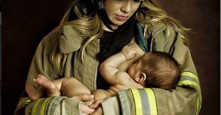 Fotógrafa registra mães amamentando de uniforme