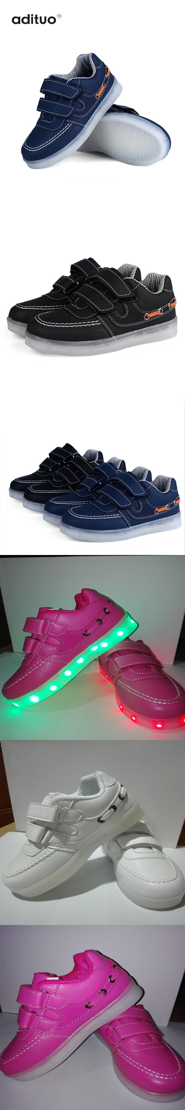 Adituo White Child Lighted Shoes For Girls Boys Colorful Glow Kids Sneakers Charge Luminous Teenage Shoes Chaussure Enfant LED