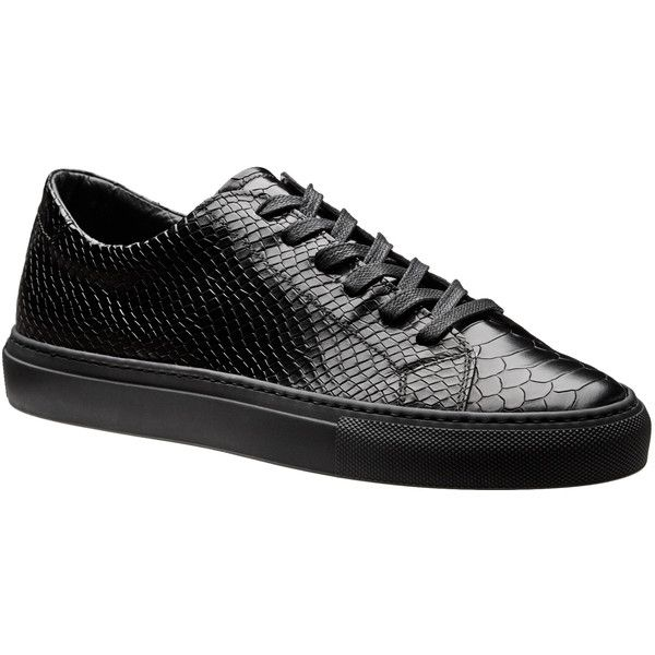 Crocodile Embossed Low-Tops (2,045 CNY) ❤ liked on Polyvore featuring men's fashion, men's shoes, men's sneakers, mens leather shoes, mens formal shoes, crocs mens shoes, mens patent leather formal shoes and mens black leather sneakers