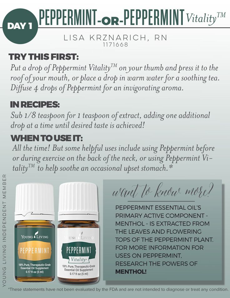 Peppermint essential oil's scent invigorates the mind and senses, while inspiring a sense of peace. Enjoy some Peppermint oil benefits by applying it to your head and neck. The refreshing aroma will give you a boost of positivity! Also a great option for diffusing on its own or with compatible scents such as Lavender, Rosemary, or Sage! www.EOinfused.com