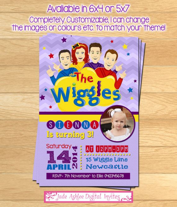 The Wiggles Birthday invitation Girls by JadeADigitalInvites