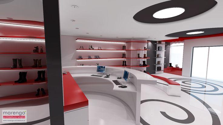 Projekt salonu obuwniczego w Krakowie; więcej na: http://marengo-architektura.pl/portfolio/projekt-salon-obuwniczy-krakow/