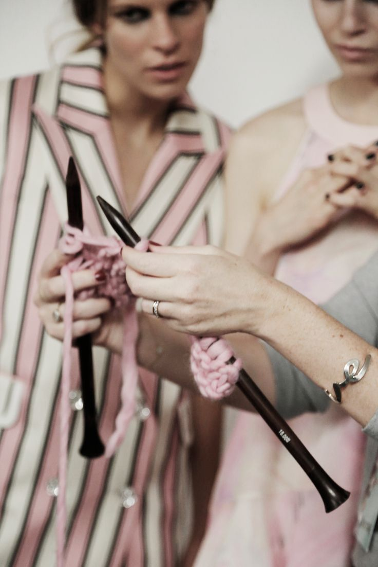 Backstage at Giles Deacon Show for SS15. The Gang have been knitting & embroidering some kick-ass knitwear for the show. #LFW #gilesdeacon #woolandthegang