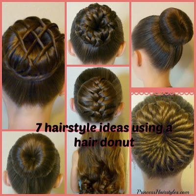 7 cute bun ideas using a hair donut or bun maker. Video tutorial.