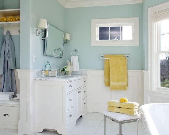 colour for kids bathroom + white woodwork & bright yellow towels