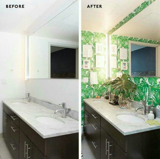 A prfct diy ...before n aftr pasting a wallcover in washroom