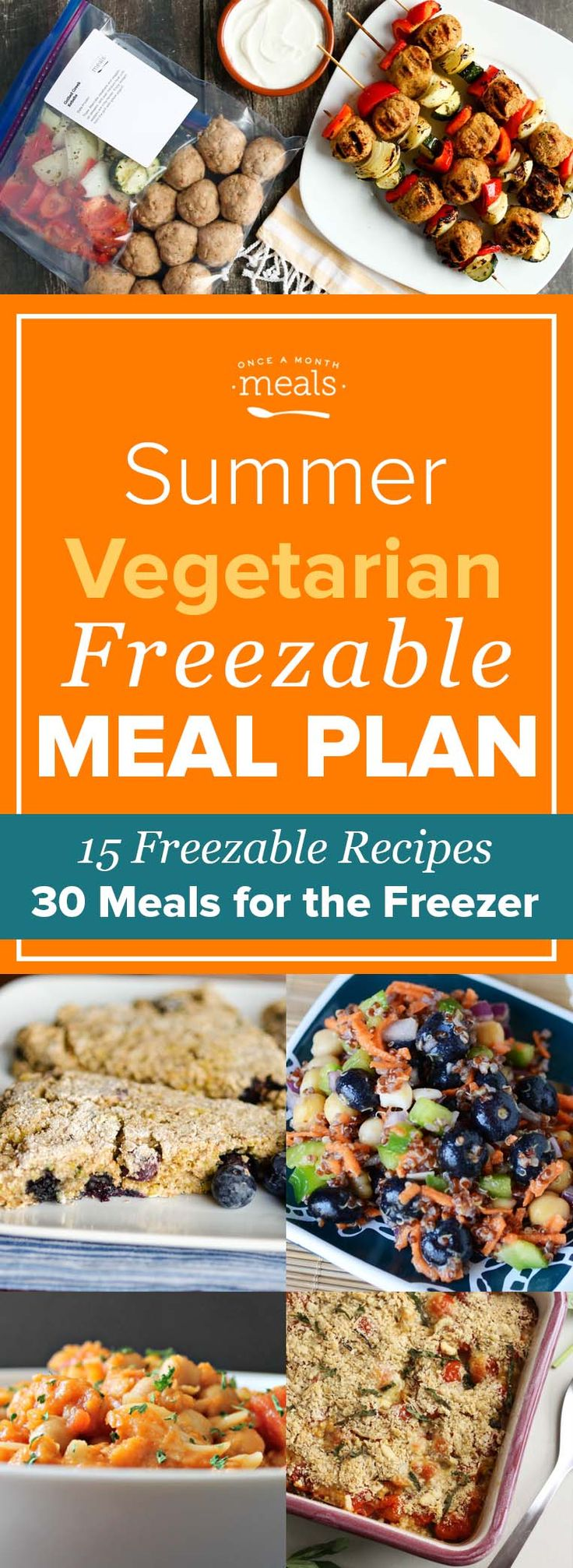 This Summer Vegetarian Freezer Meal Plan helps make your garden fresh meals last all month.
