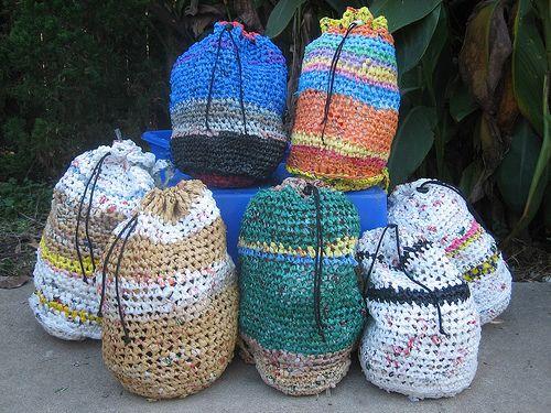 Plarn drawstring bags (recycled plastic bags)