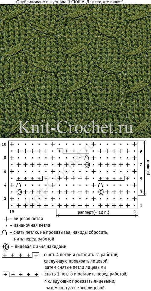 Узор с уплотненной структурой полотна спицами со схемой и условными обозначениями.