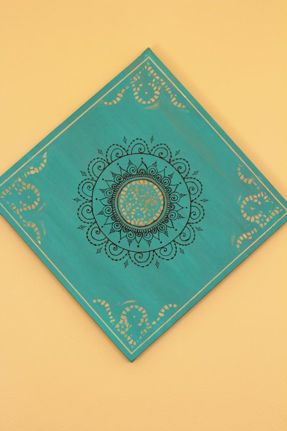 Verde azulado/turquesa Mandala Henna lona 12 por PrincessAzmirelda