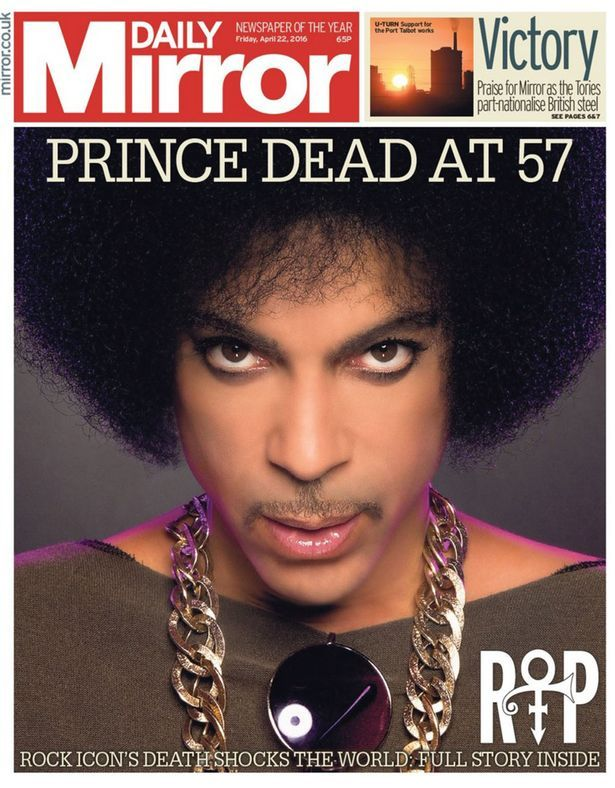 Late music legend Prince dominates the front pages of today's newspapers