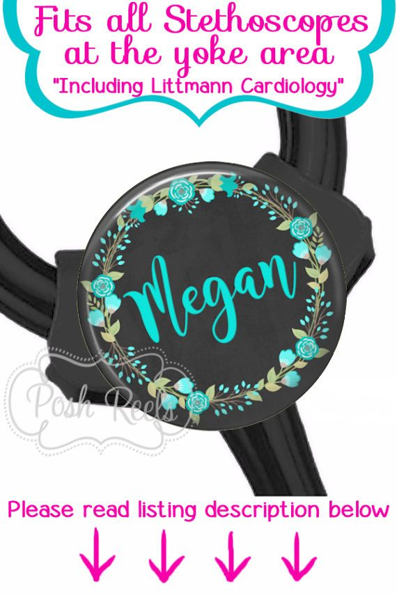 Teal Floral Littmann Cardiology Stethoscope ID Tag  Fits All