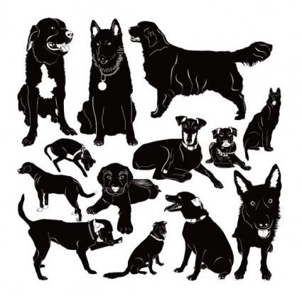 Puppy silhouette 02 vector Vector Silhouettes - Free vector for free download