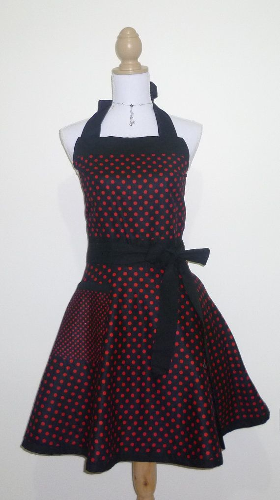 Cute Retro Apron - Red and Black Polk-a-Dot Reversible Sweetheart Apron