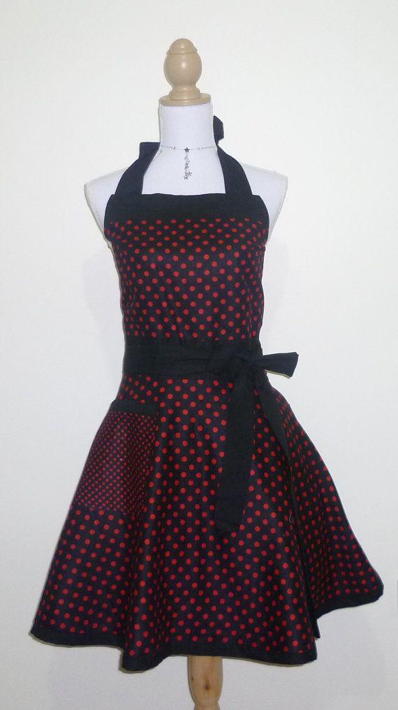 Cute Retro Apron - Red and Black Polk-a-Dot Reversible Sweetheart Apron