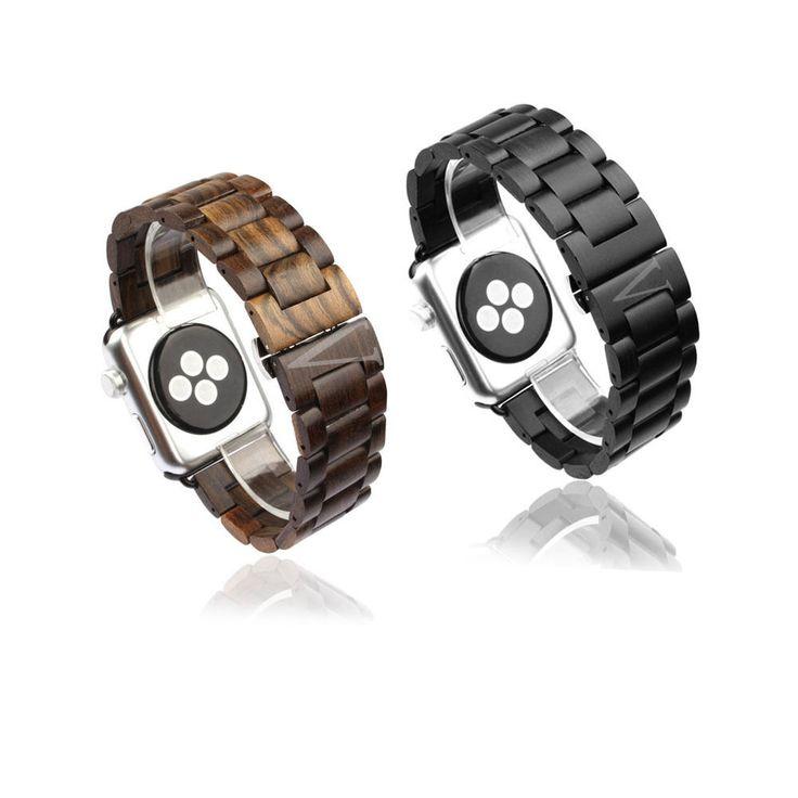 Wood Link Bracelet Butterfly Lock Watch band Strap For Apple Watch 38mm 42mm #Apple