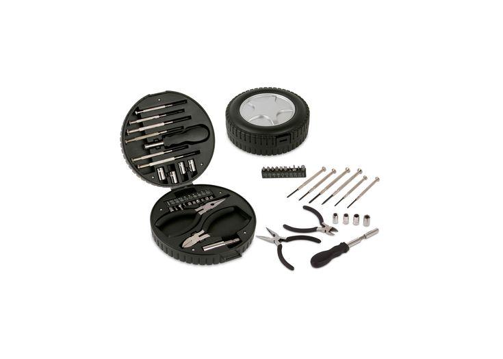 HE0003 Kit Rubber. Kit de herramientas plástico en forma de llanta que contiene: 6 destornilladores de precisión, juego 10 de puntas, adaptador, extensor, 4 copas, alicate y cortafríos.