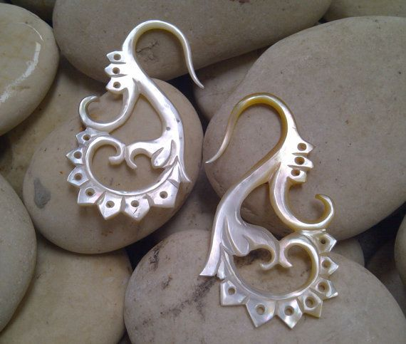 Yellow Mother of Pearl Shell Tribal Wings Earring 10 by Balidoit, $13.50