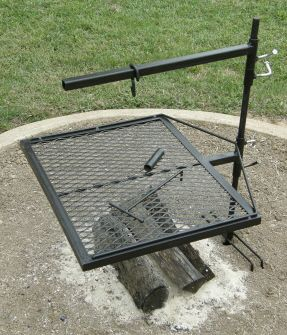 """The Mountaineer Grill  $129.00  20"""" x 25"""" grate, 42"""" stake with support legs, 22"""" Dutch Oven arm, 2 collars, grill hook & end cap     Our largest grill is great for family reunions, scouts, large groups, and parties. The Mountaineer comes with the Dutch Oven arm for those great home made desserts, stews, and more. You will be the talk of the camp. I so want this...."""