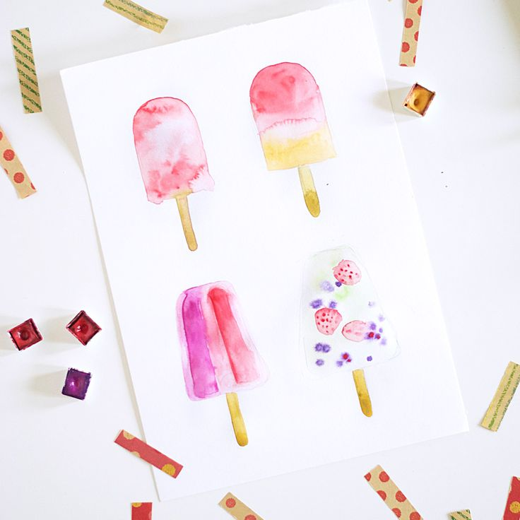 DIY Watercolor Popsicle Art. Learn four different and fun ways to paint Summery Watercolor Popsicle Art on dawnnicoledesigns.com.