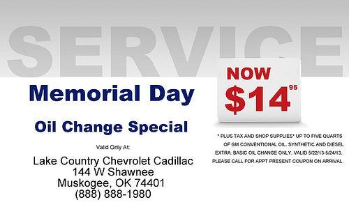 Lake Country Chevrolet Cadillac Memorial Day Oil Change Special