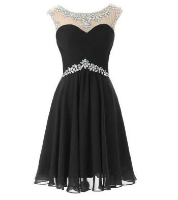 Black and silver rhinestone flowy knee length high neck formal prom homecoming dresses